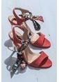 Elle İnce Topuklu Abiye Ayakkabı Kırmızı